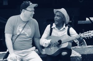 Jay enjoys sharing his gift of music with his Cuban friend.!